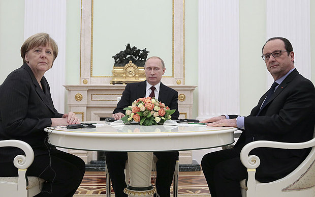 From left: Angela Merkel, Vladimir Putin and Francois Hollande. Illustrative photo.